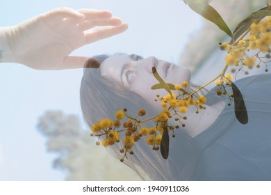 Woman portrait with mimosa plant in doble exposure