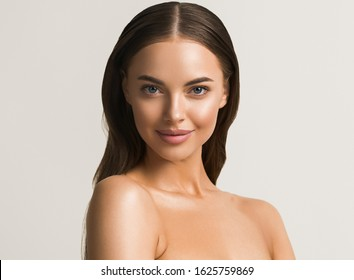 Woman portrait with neck shoulders body beautiful collarbone tanned skin natural make up