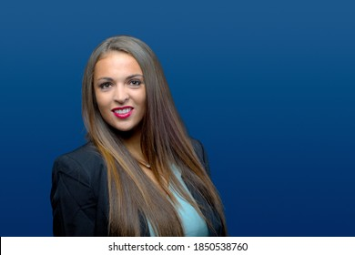 woman portrait on blue background businesswoman young lady smiling