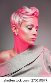 Woman portrait with pink hair