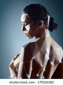 Woman portrait. Real woman digitizing to robot style painting.