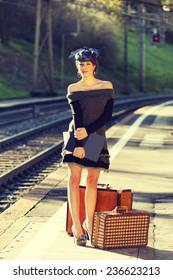 woman portrait, train station