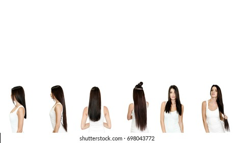 woman posing on white background with change before and after hair extension look