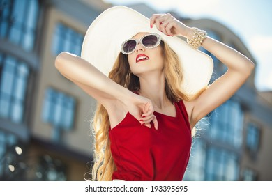 woman posing over city background