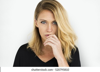 Woman Posing Studio Portrait Concept