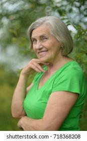 woman posing in summer park