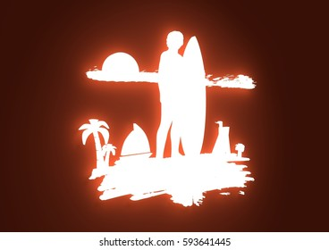 Woman posing with surfboard on grunge brush stroke. Neon light silhouette. Vintage Surfing Graphic and Emblem. Palm and lifeguard tower on backdrop. 3D rendering