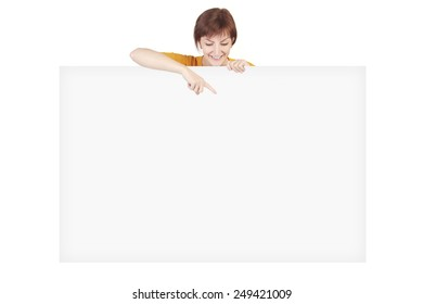 woman with poster