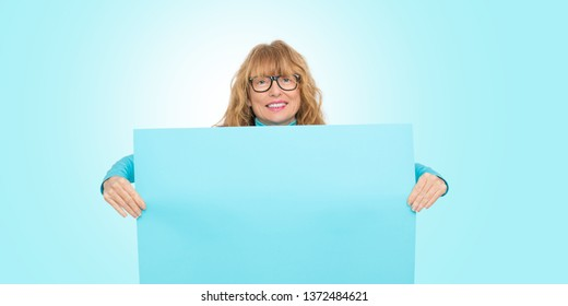 woman with poster or space for text