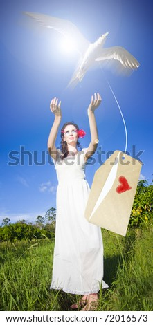 a woman posting her love letter into the deep blue sky of romance by carrier bird