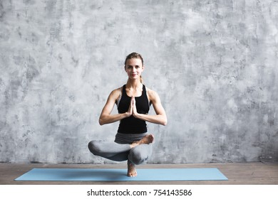 Woman practice in in fitness club. Yoga concept. Lifestyle.