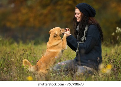 Woman practices tricks with her dog