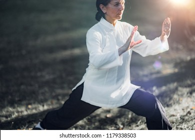 Woman practicing Tai Chi Quan in the park