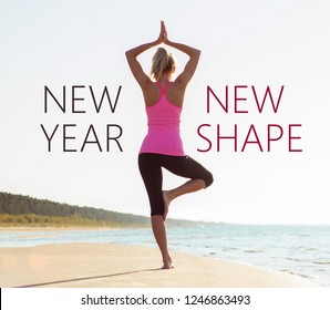 Woman practicing yoga, concept of living a better and healthier life in New Year.