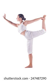 """Woman practicing yoga doing the """"  Lord of the Dance """" Pose. Natarajasana"""