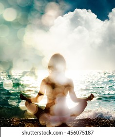 Woman Practicing Yoga on Nature Background