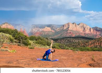 Woman Practicing Yoga in Sedona Arizona