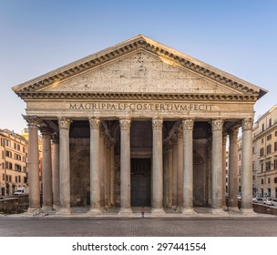 A woman praying in front of the Pantheon in Rome