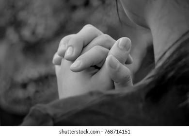 Woman praying to God. Black and White