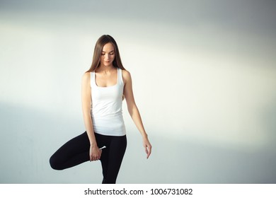 woman prepare to doing yoga Tree pose, Vrikshasana