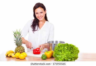 Woman prepares a healthy meal