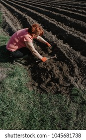 Woman prepares land for planting with plough tool in spring. Organic farming.