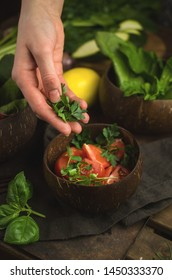 Woman preparing healthy, vegan food