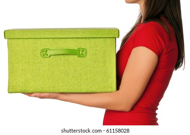 Woman presenting big green box with gifts