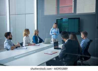 Woman presenting her ideas on a meeting in a conference room.