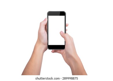 Woman presses a thumb on the screen