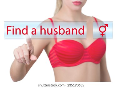 woman pressing find a husband button