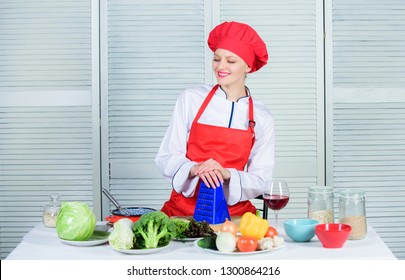 Woman pretty chef wear hat and apron. Uniform for professional chef. Lady adorable chef teach culinary arts. Improve culinary skill. Best culinary recipes to try at home. Welcome to my culinary show.
