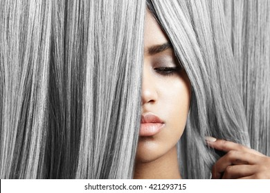 woman with pretty lips and grey hair