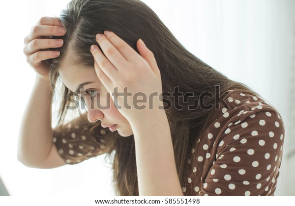 Woman with problematic hair