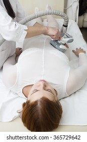 woman is in the process at the clinic massage
