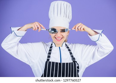 Woman professional chef hold utensil spoon fork having fun. Time to eat. Appetite and taste. Traditional culinary. Professional cook of culinary school. Culinary arts academy. Culinary school concept.