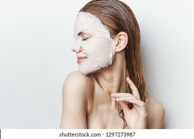 woman in profile in cosmetic mask care