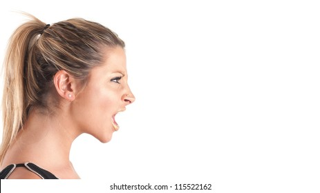 Woman profile shouting against white background.