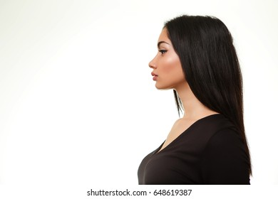 Woman from Profile. Side View Girl Isolated on White