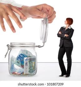 Woman protecting her savings, concept image