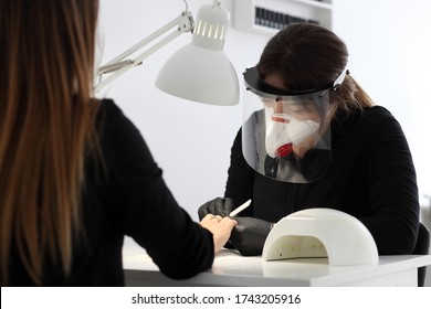 Woman in protective medical mask and manicurist. Beauty salons, manicure, nail care opened! Covid-19, coronavirus .