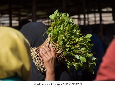 Woman purchasing khat in awaday khat market near harar, The khat capital of the world, Harari region, Awaday, Ethiopia