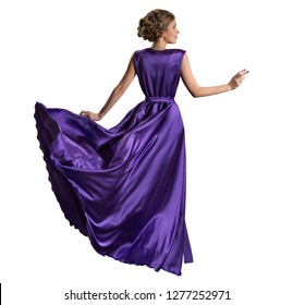 Woman Purple Dress, Fashion Model in Long Fluttering Gown, Back Rear view, Isolated over White Background