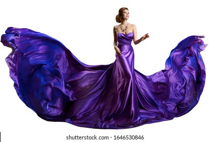 Woman Purple Dress Flying on Wind, Beautiful Fashion Model in Fluttering Gown over white background