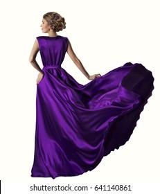 Woman in Purple Dress Looking to Mountains Sea, Waving Gown Flying on Wind, Elegant Girl Waiting on Coast