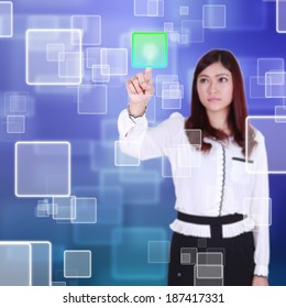 woman pushing button on a touch screen interface