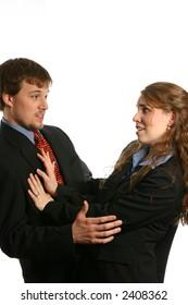 Woman pushing man away