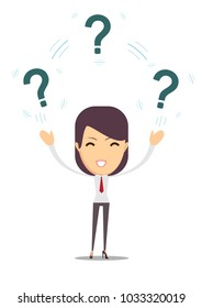 woman with question. Stock flat  illustration.