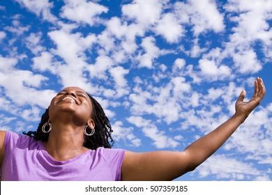 Woman Raised Arms Sky Stock Photo (Edit Now) 507359185