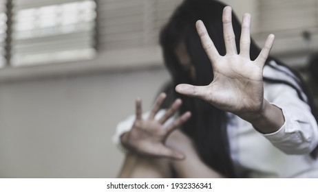 woman raised her hand for dissuade, Abuse, campaign stop violence against women. Stop sexual harassment and rape.